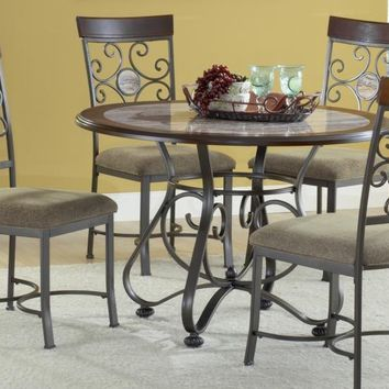 Bernards 4216 Alabaster Metal and Marble Dinette and Four Chairs