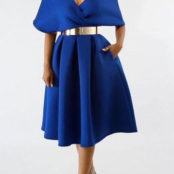Royal Blue Pleated Off Shoulder Backless High Waisted Banquet Formal Party Midi Dress