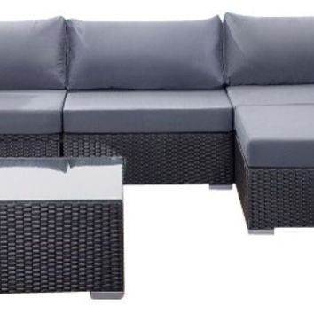 2015 Living Room Furniture Outdoor 9 Piece Black Deep Seating Sectional Sofa Set