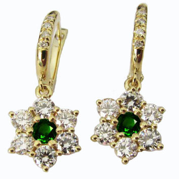 Emerald Earrings, Chandelier Earrings,  Drop earrings, 18K Yellow Gold with F VVS Diamonds 1.75 carat in Flower Design,May Birthstone