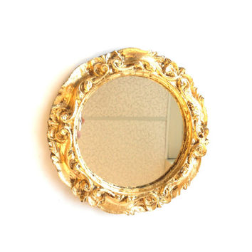 Home Interior, Wall Hanging Florentine,Round Gold Wall Mirror with Small Vintage Mirror, Shabby Chic Gold Sconce