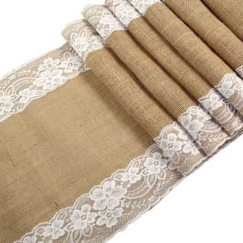 OurWarm Burlap Lace Hessian Table Runner Jute Country Outdoor Wedding Party Dcor 12 x 108inch
