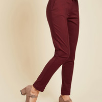 Situationally Savvy Pants in Burgundy | Mod Retro Vintage Pants | ModCloth.com