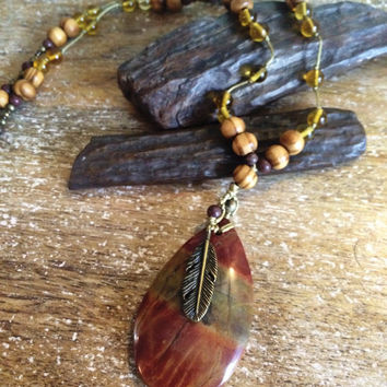 Native American Tribal Picasso Jasper Pendant. Hippie Necklace