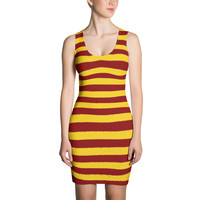 Red and Yellow Striped  Dress