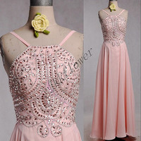2015 Pink Crystal Beaded Prom Dresses,Backless Prom Dresses,Long Pink Evening Dresses,A Line Party Dresses,Bridesmaid Dresses,Homecoming