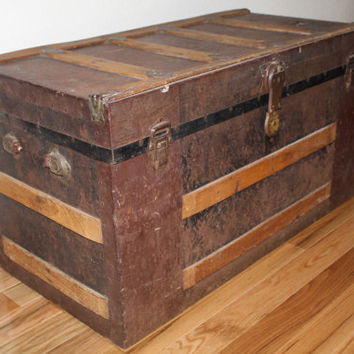 Antique 1800's Metal Steamer Trunk