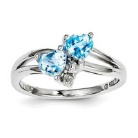 Sterling Silver Blue Topaz Double Heart Diamond Ring