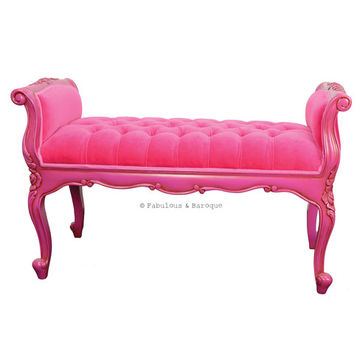 Fabulous and Baroque — Isadora French Upholstered Bench - Fuchsia