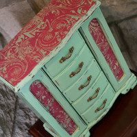 Jewelry Box, Vintage Hand Painted Minty Green