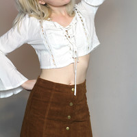 Caramel Corduroy Button Up Skirt
