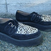 Vintage Creepers Shoes 1990s Underground Shoes Pony Hair and Black Suede Leather