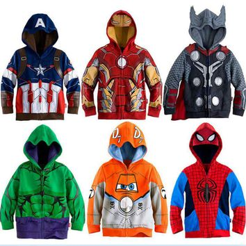 new Hoodies Avengers Marvel Superhero Iron Man Thor Hulk Captain America Spiderman Sweatshirt for Boys Kid Cartoon Jacket 2-7T