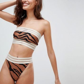 River Island High Leg Animal Print Bikini Brief at asos.com