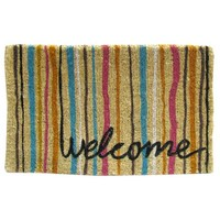 Welcome Doormat with Multi Color Stripes | Hobby Lobby