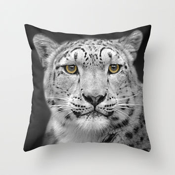 Snow Leopard Throw Pillow by Linsey Williams