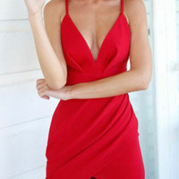 Red Deep V Strappy Asymmetric Wrap Bodycon Dress