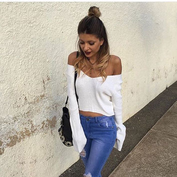 US 2017 Fashion Women Casual Knitted Short Tops Off Shoulder Long Flare Sleeve Cotton Blend T Shirt