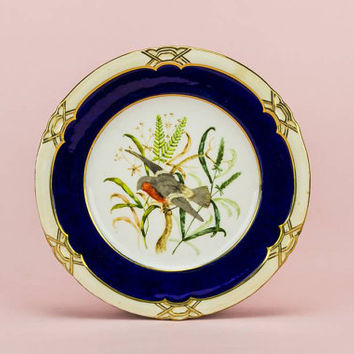 Antique Blue CAKE PLATE Birds 9.4'' Victorian Serving Porcelain Elegant Cake Medium Dinner English 19th Century LS