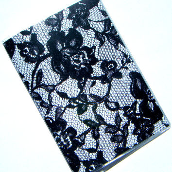 Lace Pattern Passport Holder Cover Case -- Black and White