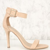 Natural Ankle Strap Single Sole High Heels Faux Suede