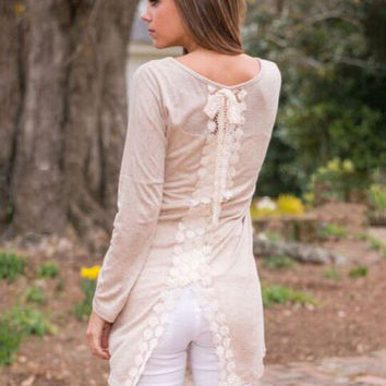 Apricot Long Sleeve Back Lace and Slit Blouse