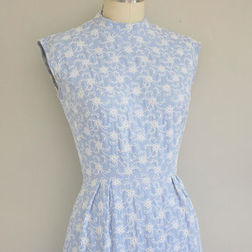 50s dress / vintage dress / 1950s baby blue floral embroidered dress