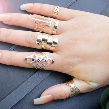 F&U Zinc Alloy Metal Gold Plated With Pattern Ring Sets for Fashion Girls Gift Trendy Ring for 6 Pieces with Different Pattern