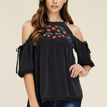 No Excuses Embroidered Cold-Shoulder Top (Black)
