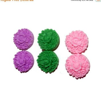 MOVINGSALE Flower Post Earrings, Flower Stud Earrings, Purple, Green, Pink Earrings