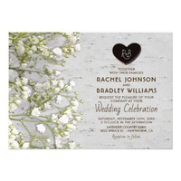Rustic Country Birch Tree Baby's Breath Wedding Card