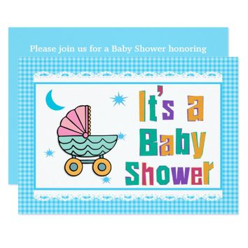 Cyan Blue Checker Stroller Baby Shower Invitation