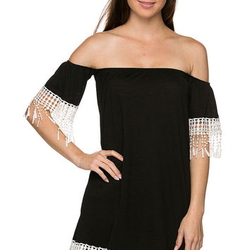 Black Fringe Boho Top