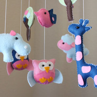 "Baby Crib Mobile - Baby Mobile - Nursery Crib Mobile ""Baby Animals in the Day"" (You can pick your colors) Owl Bird Mobile"