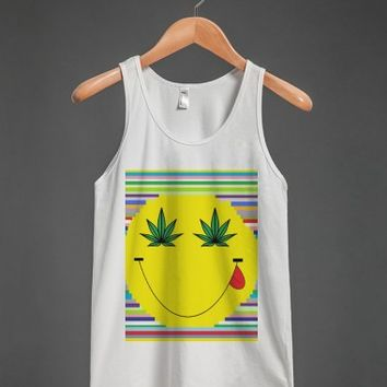 smiley face weed rainbow tank