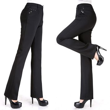 NIFULLAN Middle-Aged Women Pant 2017 New Arrivel Solid Color Ladies Fashion All-Match Slim Casual Straight Pants