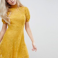 ASOS Mini Lace Dress With Puff Sleeve at asos.com