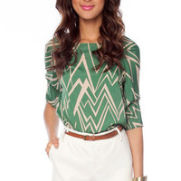 Unzig Me Top in Forest Green :: tobi