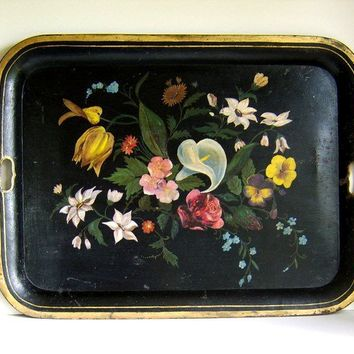 Old Handpainted Black Tole Tray by JodysVintage on Etsy