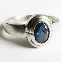 Vintage Sterling Silver Sapphire Ring - Bezel Set Sapphire Size 8