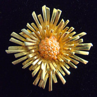BENEDIKT NY Star Burst Coral Seed Brooch, Gold Tone & Layered, Vintage