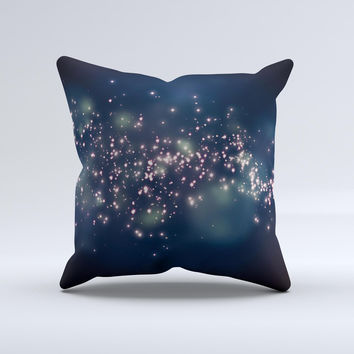 Dark Glowing Sparks Ink-Fuzed Decorative Throw Pillow