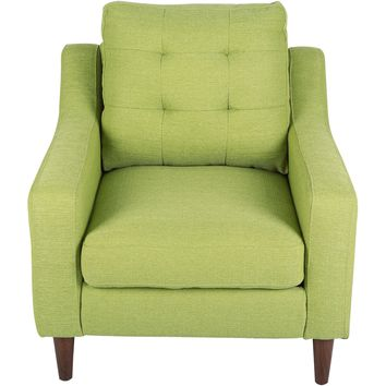 Maverick Mid-Century Modern Accent Chair Upholstered, Green Fabric