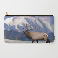 Elk in the snow  Carry-All Pouch by North Star Artwork