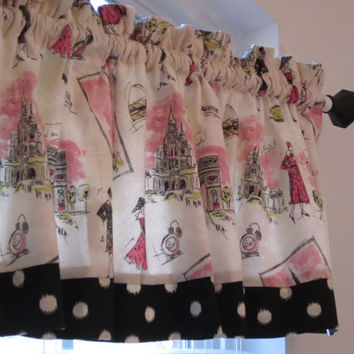 Custom Boutique Pink and Black with Dots Paris France Valance - Lined Curtain - Bathroom, Bedroom, Nursery, Girls Room - Window Treatments