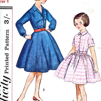 1950's Girl's One Piece Dress With 2 Skirts - Shirt Waist / Full Skirt Dress - Vintage Sewing Pattern - Simplicity S.151 - Chest 24 Inches
