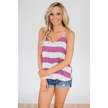 Out & About Striped Tank Top- Orchid