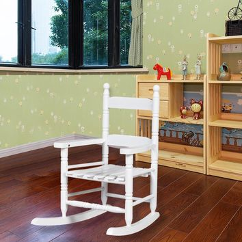 Classic White Wooden Children Kids Rocking Chair Slat Back Furniture Bedroom  HW56401