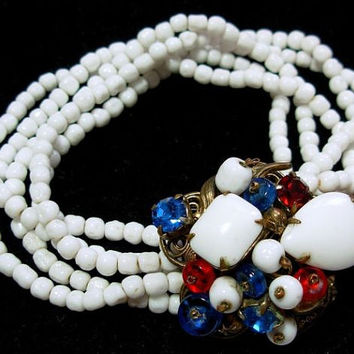 "Miriam Haskell 5 Row Link Bracelet White Pearl Beads & Fancy Red Blue Rhinestone Clasp 8"" Vintage"
