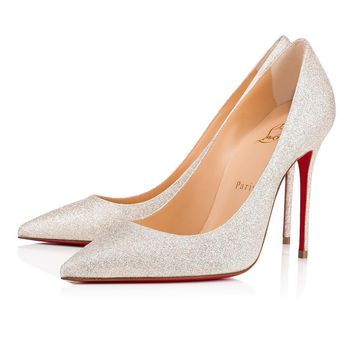 Christian Louboutin Cl Decollete 554 Ivory Glitter 12w Bridal 1130433wh62 -